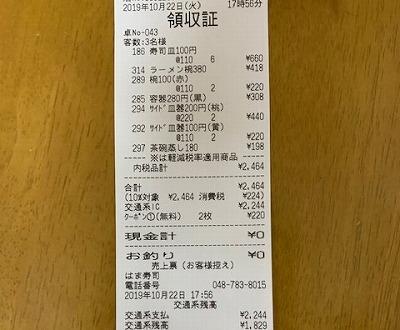 はま寿司で家族3人で食べた時のレシート