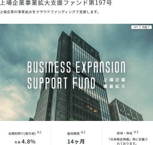 上場企業事業拡大支援ファンド197号 案件概要
